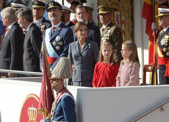 King Felipe, Queen Letizia, Princess Leonor and Infanta Sofía attended the National Day Military Parade 2017