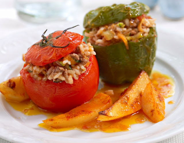 Ioanna's Notebook - Gemista (Rice stuffed peppers & tomatoes)