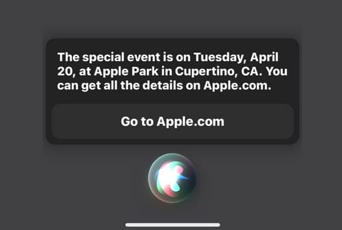 Siri reveals plans for an Apple event on April 20