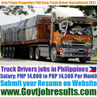 Zeta Prime Properties Phil Corp Truck Driver Recruitment 2021-22