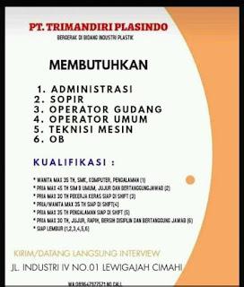 Lowongan Kerja PT. Trimandiri Plasindo