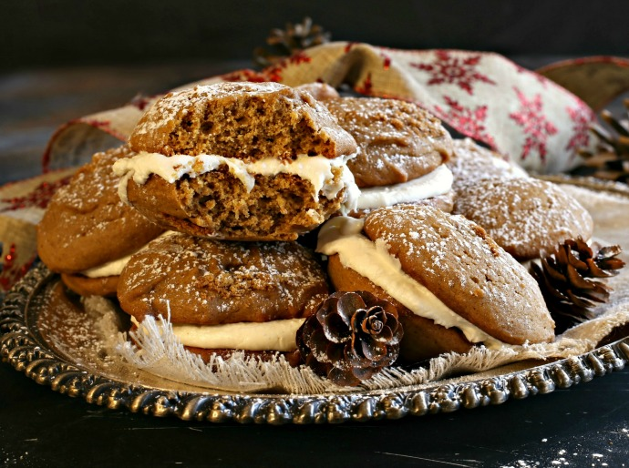 Recipe for spiced gingerbread whoopie pies filled with vanilla marshmallow cream.