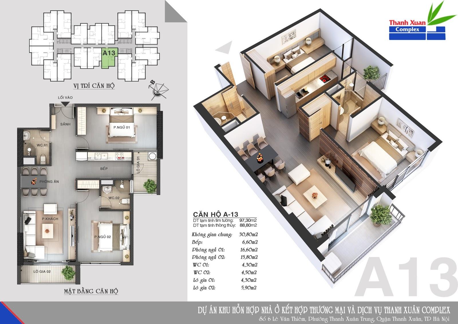 Mặt bằng căn hộ chung cư Thanh Xuân ComPlex 2