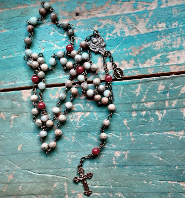 blue green and red rosary