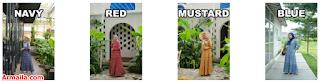 Wearmoura Kinara Dress - Red, Mustard, Navy & Blue | ARMAILA DROPSHIPPER