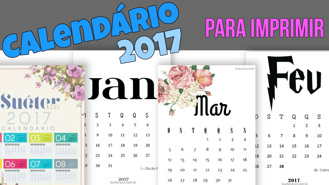 Calendarios 2017 Para Imprimir Sueter Azul