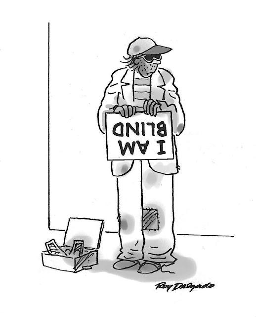a Roy Delgado cartoon about a blind beggar