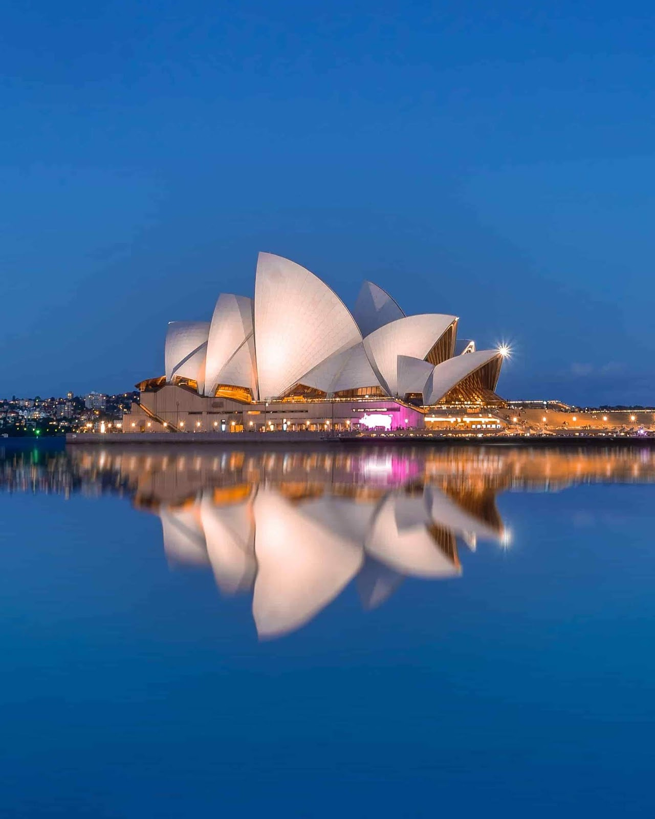 View of Sydney Opera House with reflection on Sydney Harbour, Australia