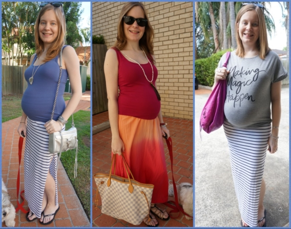 AwayFromTheBlue | Third Trimester Maxi Skirt Outfit Ideas non-maternity clothes