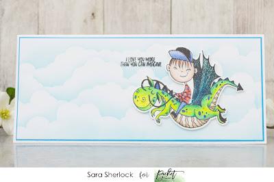 Picket Fence Studios, Ride With Me Dear, Slim Line Cloud Coverage Stencil, Prismacolor Pencils, coloring, ink blending