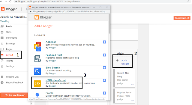how to add Popads.net code to blogger blog?