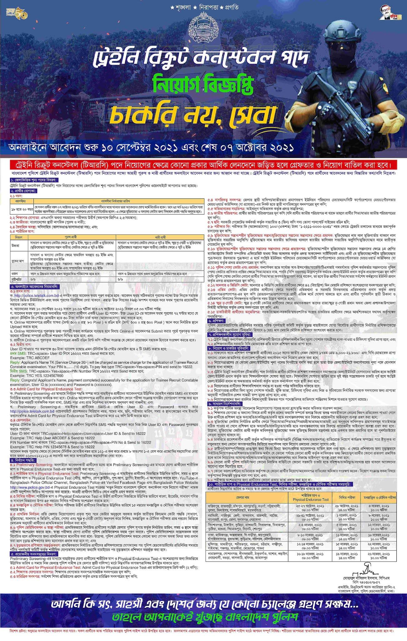 Bangladesh Police Constable Job Circular 2021