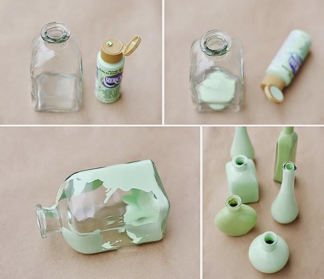 El taller de troco pintar botellas y jarrones de cristal - Como pintar botellas de plastico ...