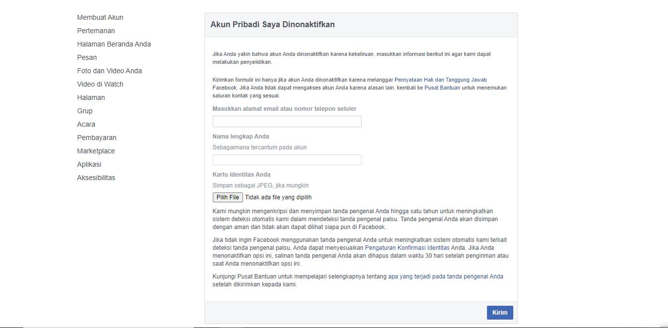 Cara Mengatasi Akun Facebook Yang Dinonaktifkan Secara Permanent