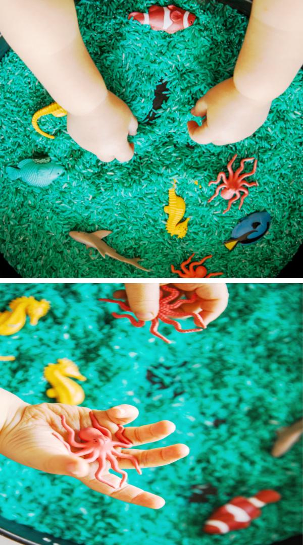 Make play rice for kids using Kool-aid!  Easy recipe and less messy than sand. #koolaiddyedrice #riceforkids #howtodyerice #ricerecipes #growingajeweledrose #activitiesforkids