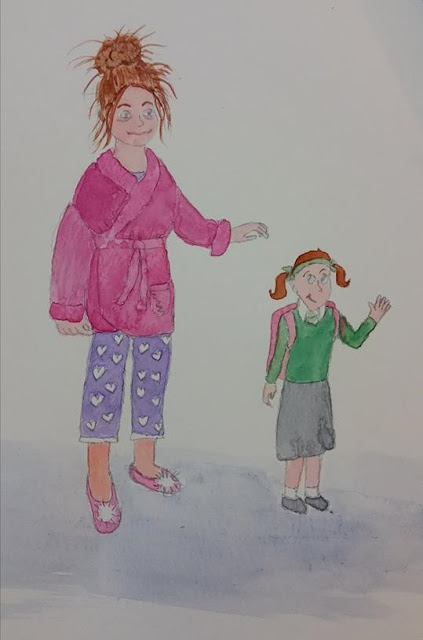 Pyjama Mum With School Girl Drawing and Watercolour