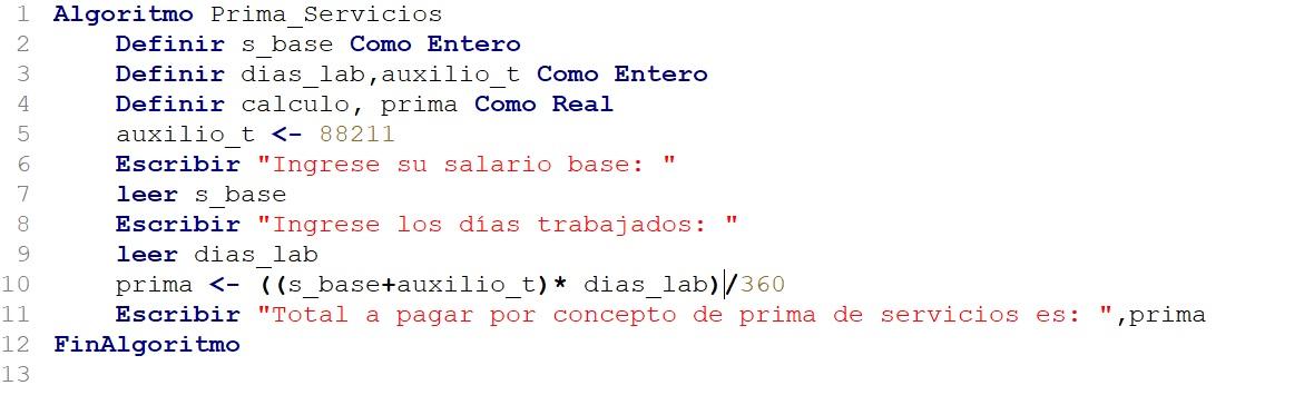 algoritmo que calcula la prima de servicios