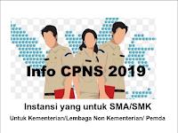 Daftar Formasi dan Persyaratan Penerimaan CPNS Tahun 2019 (untuk Lulusan SMA/SMK)