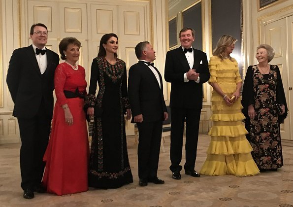 Queen Maxima wore Claes Iversen Dress. Queen Rania, Princess Beatrix, Prince Constantijn and Princess Margriet