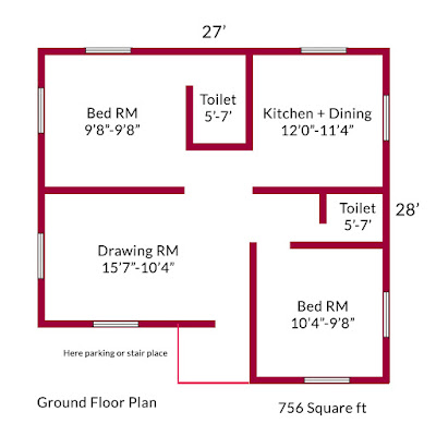 2bhk ground floor plan design