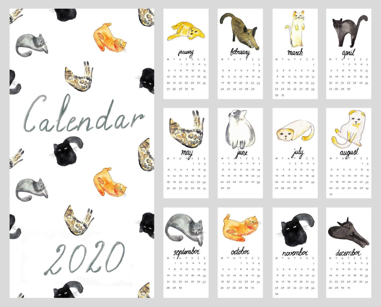 kalendar kartun kucing 2020