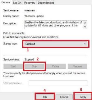 cara mematikan windows update - disable