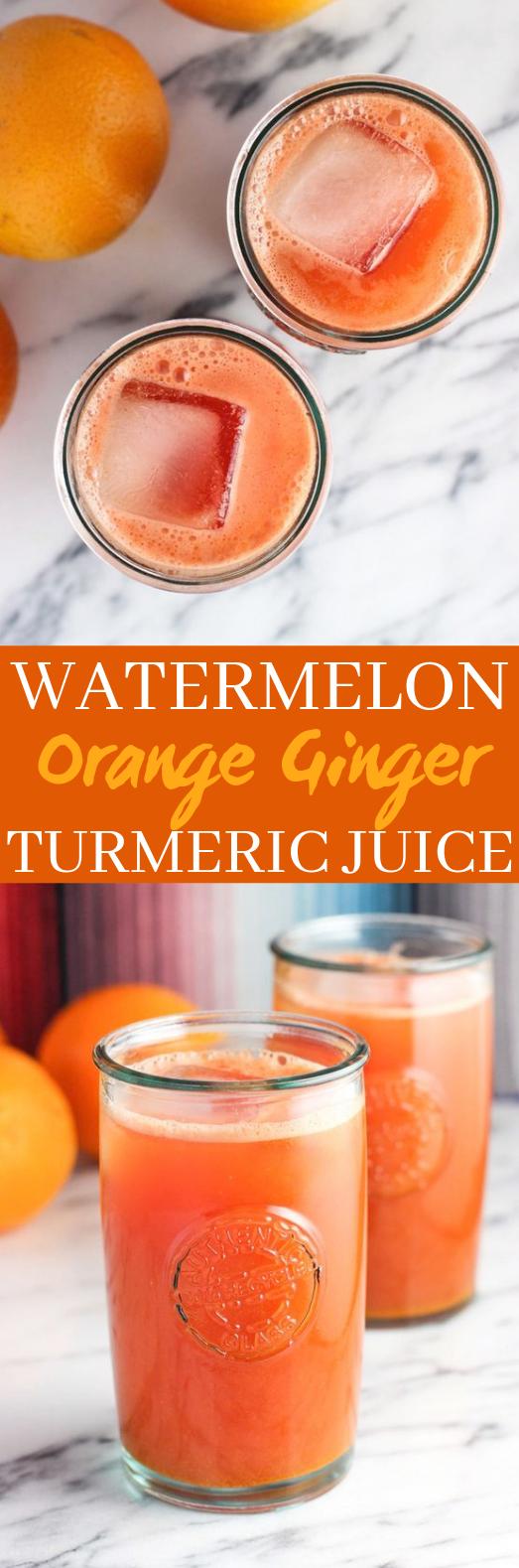 Watermelon Orange Ginger Turmeric Juice #healthy #drinks