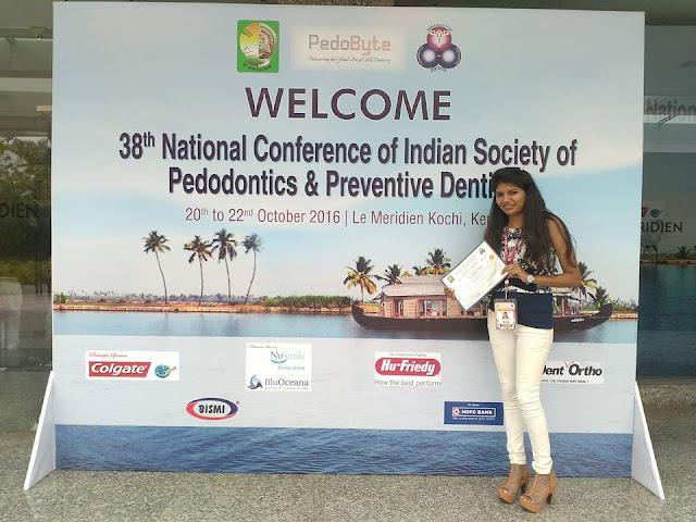 Dr. Parshita Panchali dodhia at  38th National Conference of Indian Society of Pedodontics and Preventive Dentistry at Kochi - Kerala