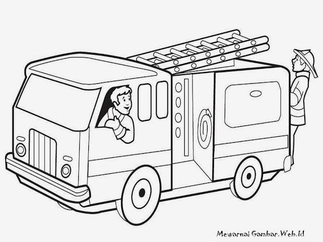 Mewarnai Mobil Pemadam Kebakaran Gambar Kartun