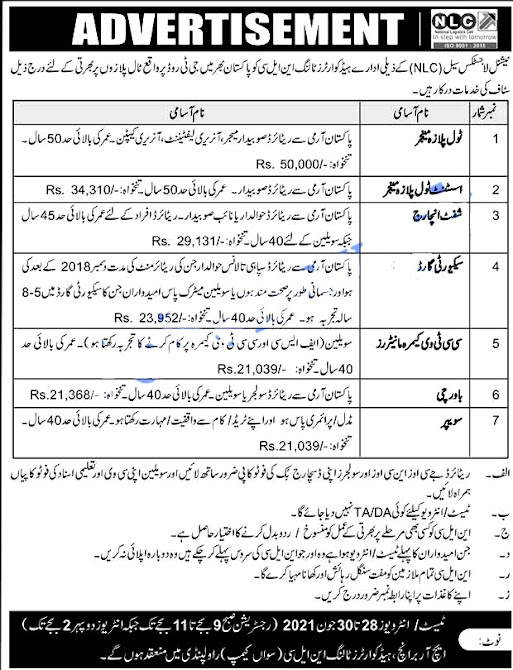 National Logistics Cell NLC New Jobs 2021 Latest in Pakistan