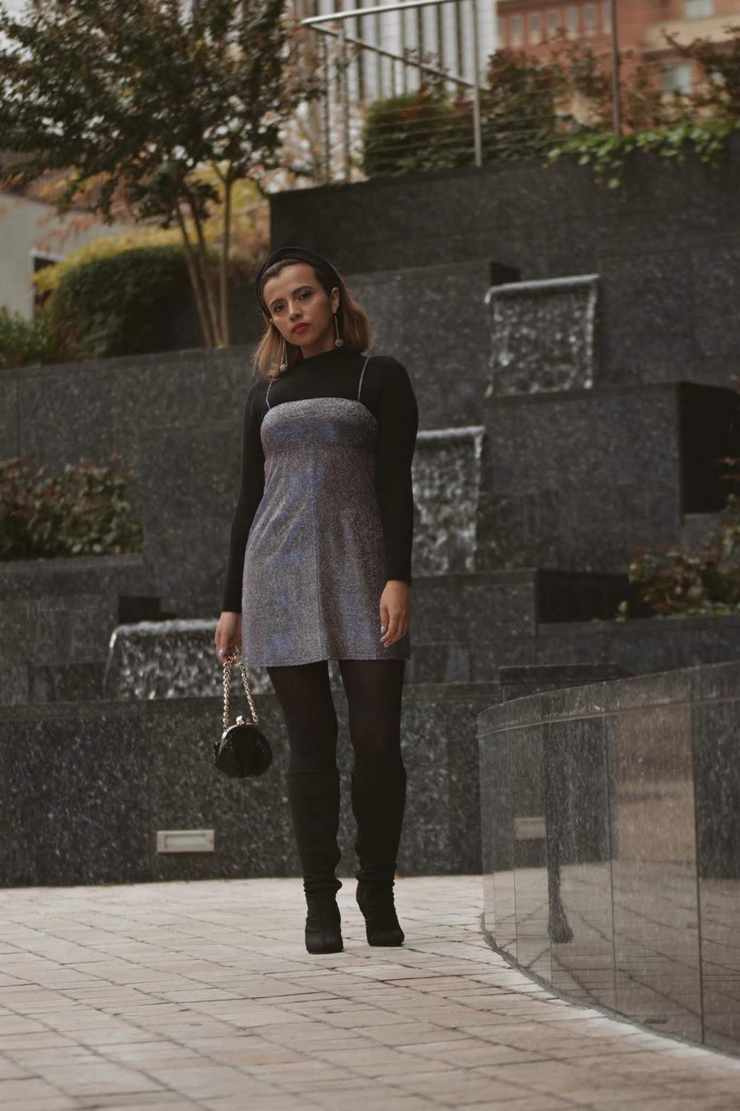 Purple Glitter Sparkly Shift Mini Dress-mariestilo