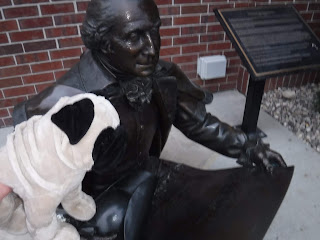 a plush pug appears next to a bronze statue of George Washington, seated on a white bench in front of a red brick wall