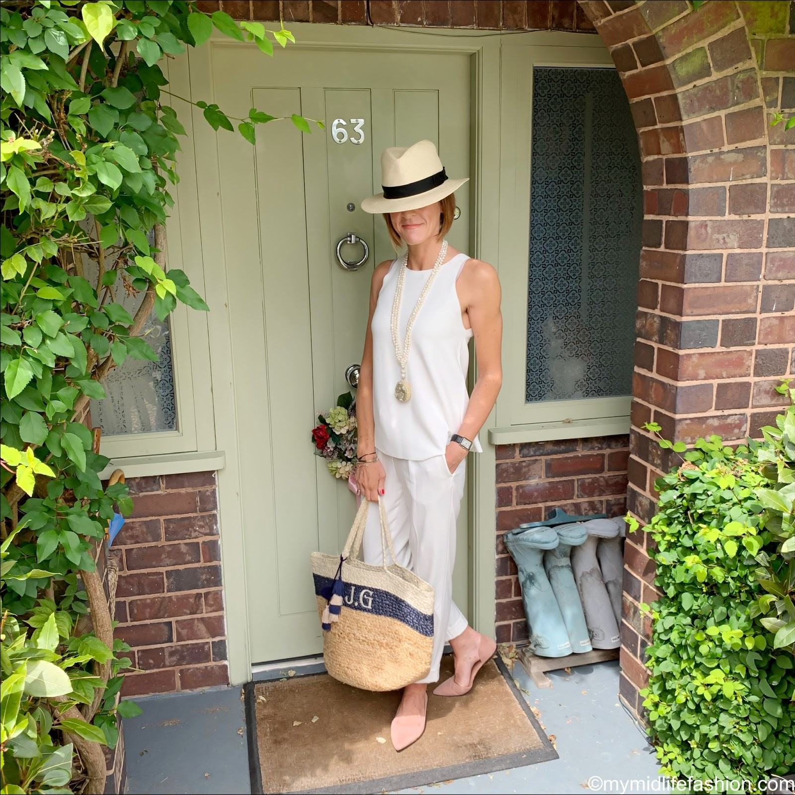 my midlife fashion, marks and Spencer knitted vest top, marks and Spencer luxury Panama hat, marks and Spencer drawstring pleated tapered leg trousers, initially London Canonbury bag, h and m pointed ballet pumps