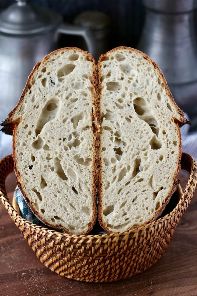Light Rye Sourdough Bread crumb shot