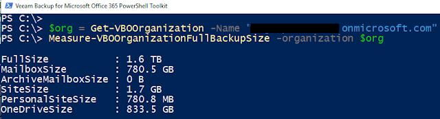 Veeam Backup O365: Tamaño organización