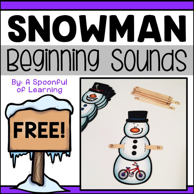 This snowman beginning sounds activity is great for many different