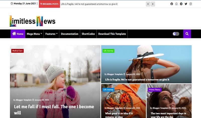 Limitless News - Responsive Premium Blogger Template