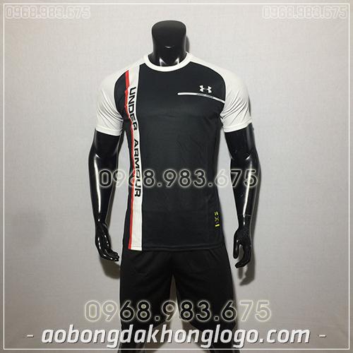 Áo bóng đá ko logo Under màu đen