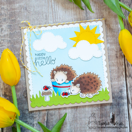 Hedgehog card by Zsofia Molnar | Hedgehog Hollow Stamp Set, Frames Square Die Set, Land Borders Die Set and Sky Scene Builder Die Set from Newton's Nook Designs #newtonsnook #handmade