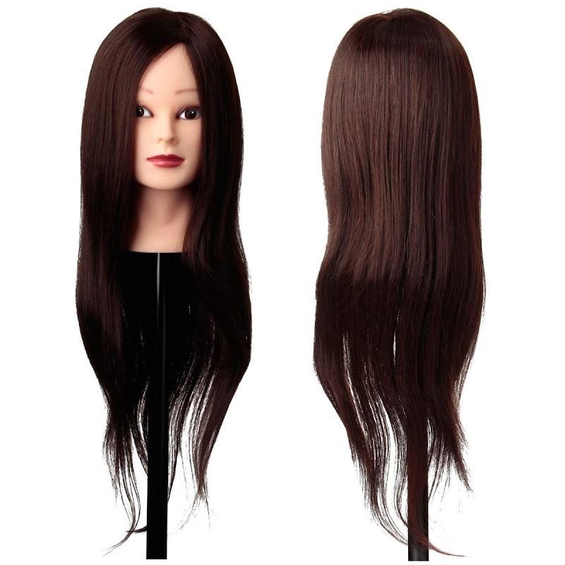 "50.02% OFF Training Head  LuckyFine 22"" Deep Brown 80% Real Hair"