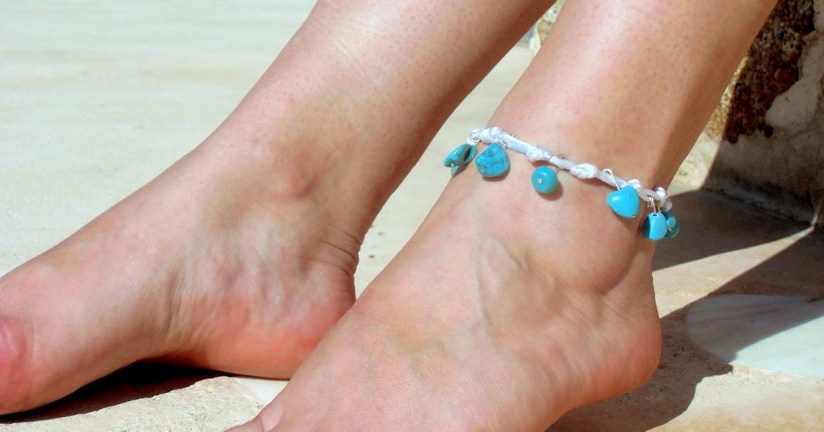 Anklet Beach Jewelry Blue Turquoise Beads With Lace Feet