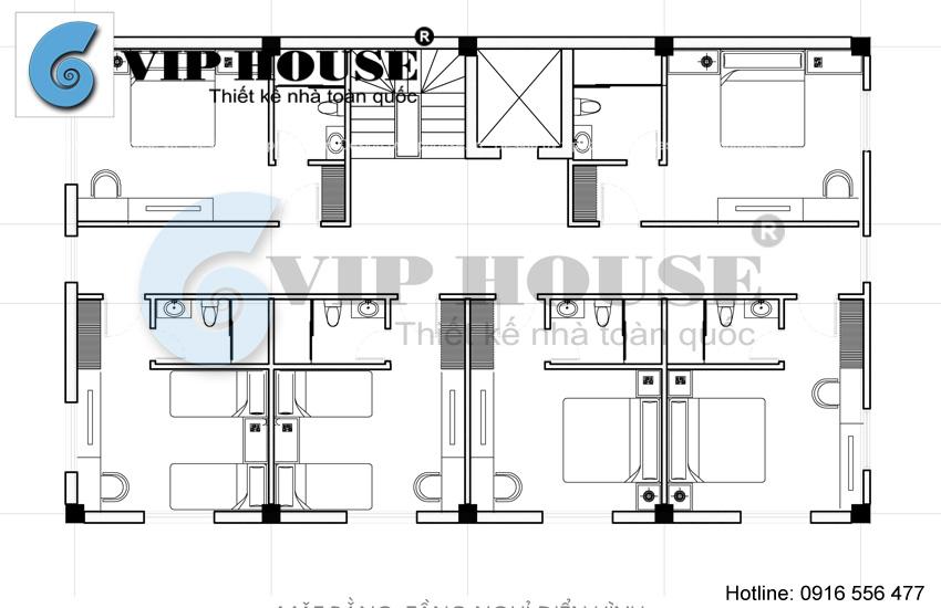 Hình ảnh: Thiết kế khách sạn mini kiểu cổ điển - mặt bằng phân chia đại diện các không gian phía trên.