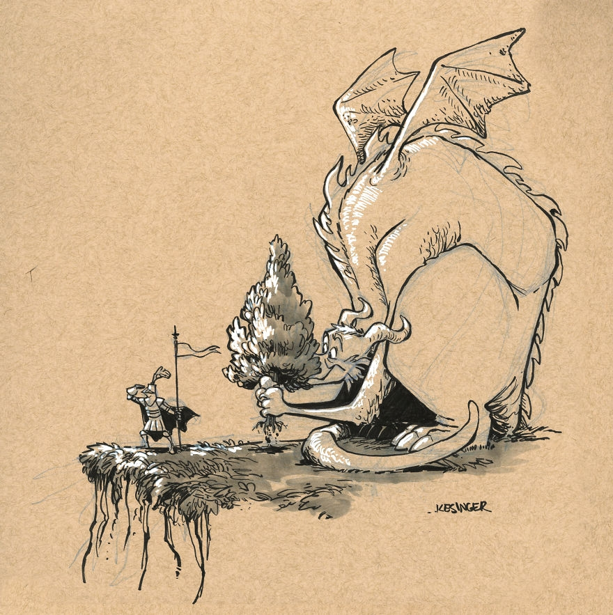 05-Raniik-the-Obvious-Brian-Kesinger-Drawings-that-Show-the-Kinder-Side-of-Dragons-www-designstack-co