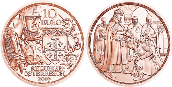 Austria 10 euro 2019 Godfrey of Bouillon