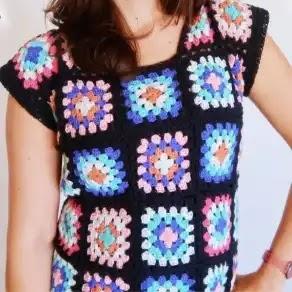 Camiseta con Grannys a Crochet