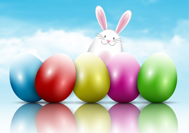 Easter bunny and eggs on a blue sky background Free Vector