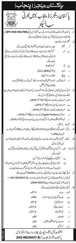 Join Pakistan Rangers Punjab as Sub Inspector 2019