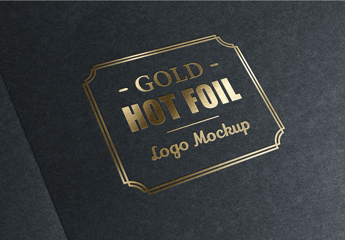 Download 3D Logo Mockup PSD - Gold Stamping Logo Mock-Up