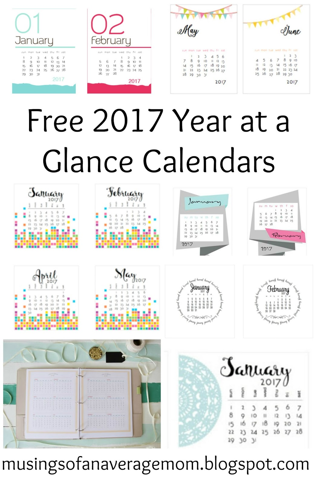 Free 2017 Year at a Glance