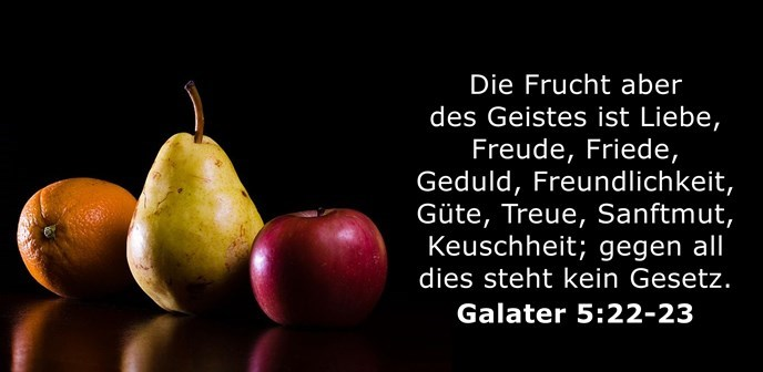 Die Frucht aber des Geistes ist Liebe, Freude, Friede, Geduld, Freundlichkeit, Güte, Treue, Sanftmut, Keuschheit; gegen all dies steht kein Gesetz.